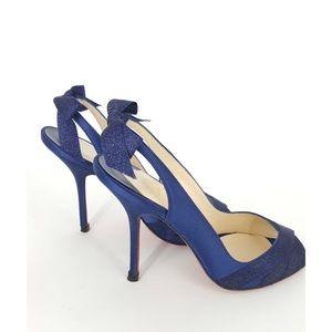 8b356df5560f Christian Louboutin Shoes - Christian Louboutin Navy sparkle sling back  heels